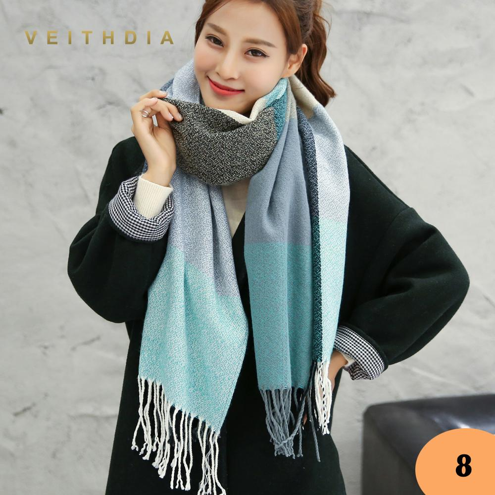 VEITHDIA chaud Automne Hiver Femme écharpe de laine de cachemire de femmes Foulards large Treillis long Châle Wrap Couverture chaud Tippet gros