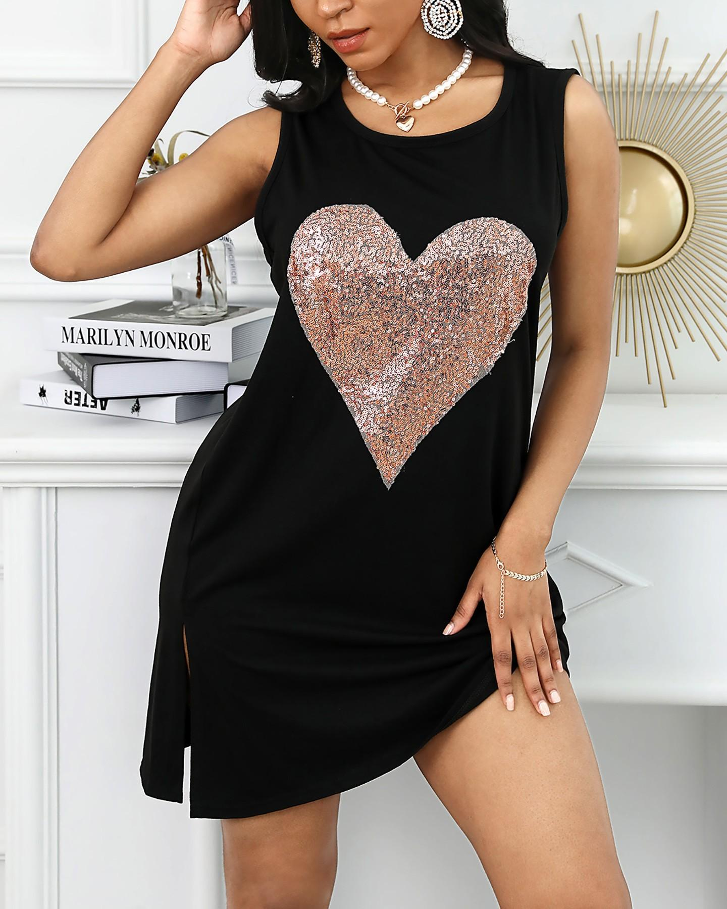 2020 Femmes Designer T-shirt d'été de coeur Sequin manches de Split ras du cou T-shirts Mode précarisés Vêtements
