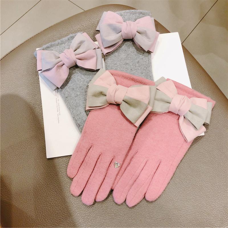 beş parmak çift kalın kadın kış sıcak eldiven yay kaşmir kadın Yeni Koreli dokunmatik ekran eldiven