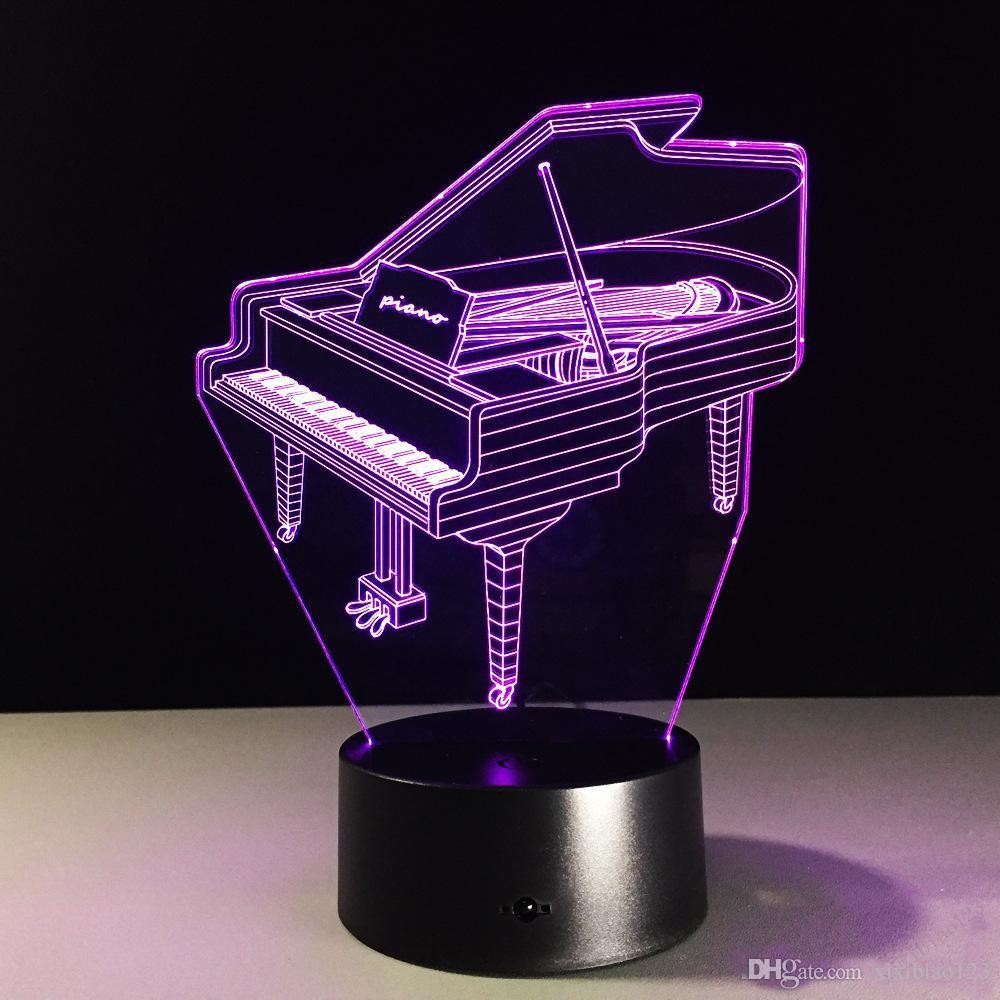 Горячие продажи Фортепиано 3D Optical Illusion лампы Night Light DC 5V USB зарядка пятые батареи Dropshipping Бесплатная доставка