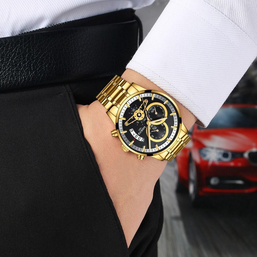 Mayforest Mens orologi di lusso Data superiore di marca oro della vigilanza degli uomini Relogio Masculino Automatic Watch quarzo luminoso calendario orologio da polso