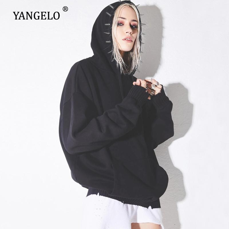 Yangelo Deranged Desire Spiked Hoodie Women Sweatshirt Fall Winter Black Punk Long Sleeve Loose Pullover Female Streetwear Top