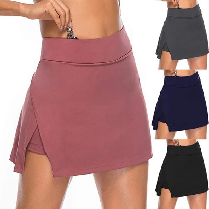 2020 بلون بلون غير النظامية سبليت تنس تنورة عارضة بسيط عالية الخصر مرونة لو اليوغا الرياضة تنورة طالب جولف تنورة رياضة ملابس النساء النساء