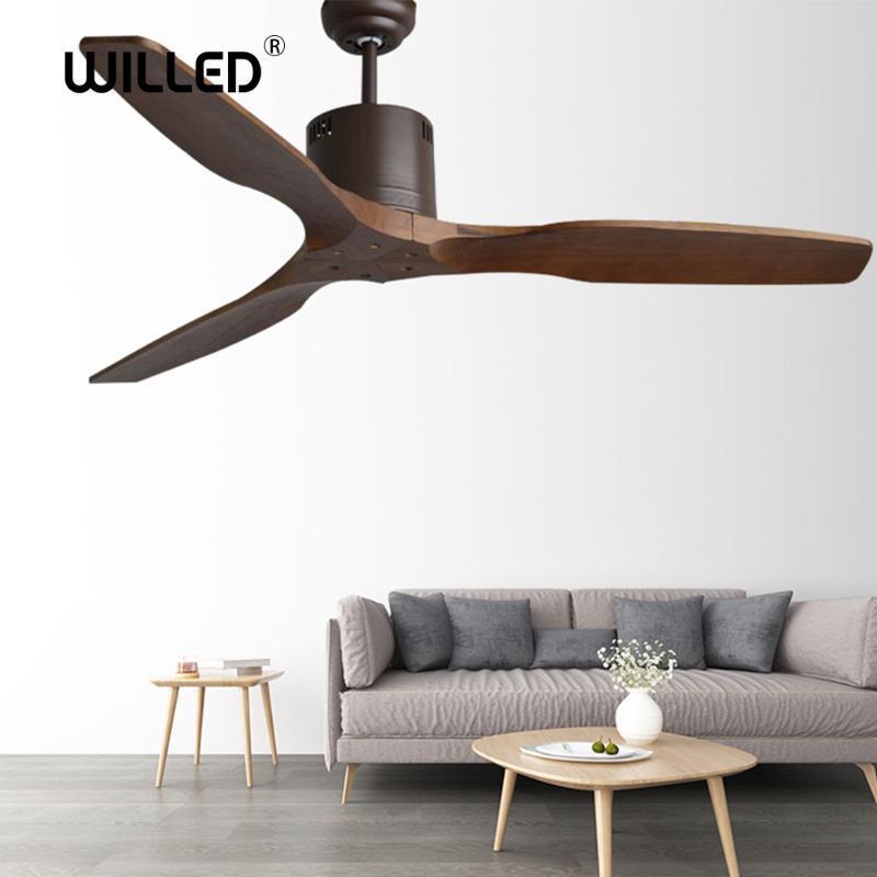3 lames Ventilateur au plafond en bois avec Grenier Télécommande sans lumière Ventilateurs Restauration lampe Chambre Fan Ventilador de Teto moderne nordique