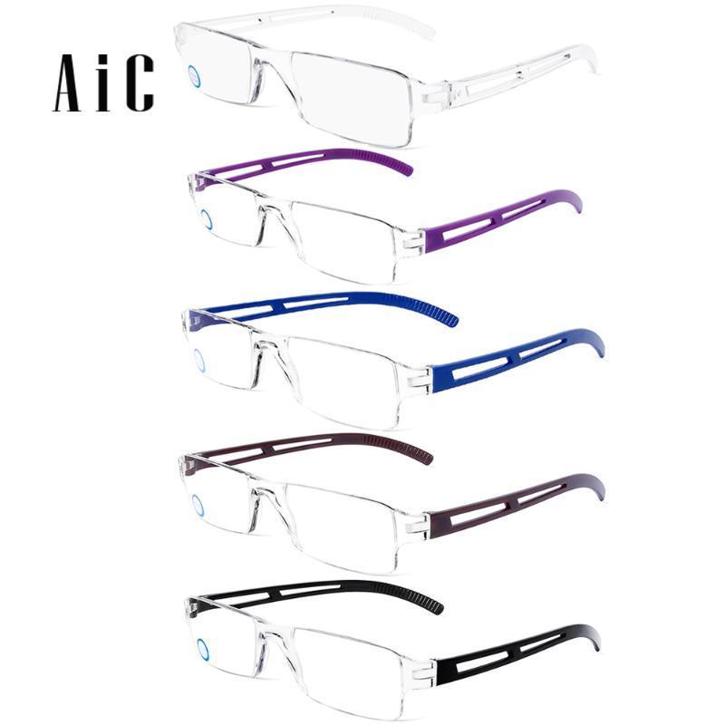 Hafif Okuma Gözlüğü Rimless Erkekler Kadınlar Reçete Gözlükler Gözlükler Reçete engelleme Karşıtı Mavi Işık Gözlük