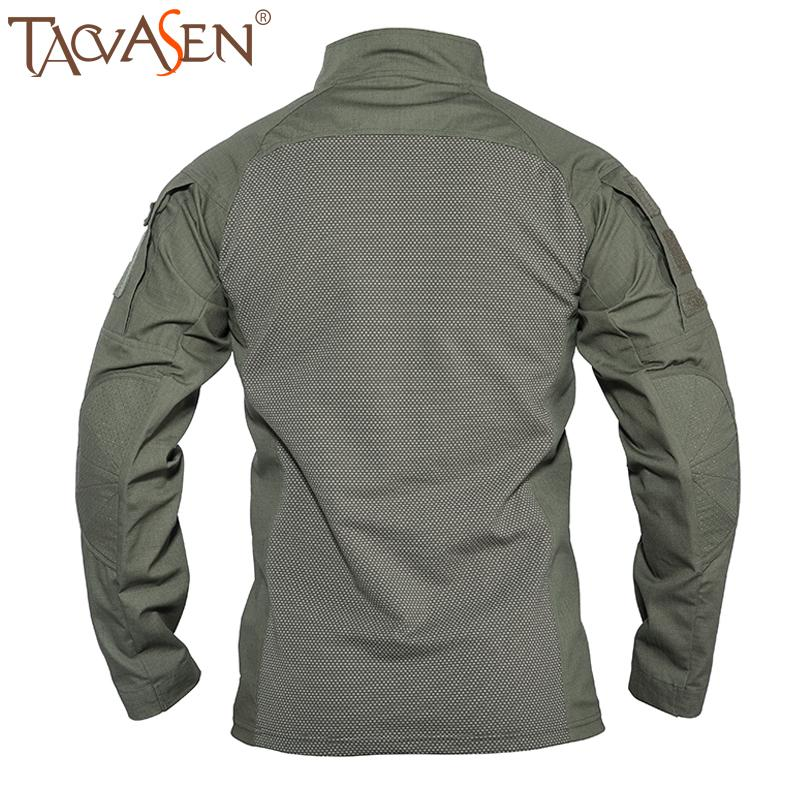 TACVASEN tattico militare T-shirt a maniche lunghe in cotone Rapid Airsoft di combattimento T-shirt caccia esterna di ripresa T superiori M-5XL