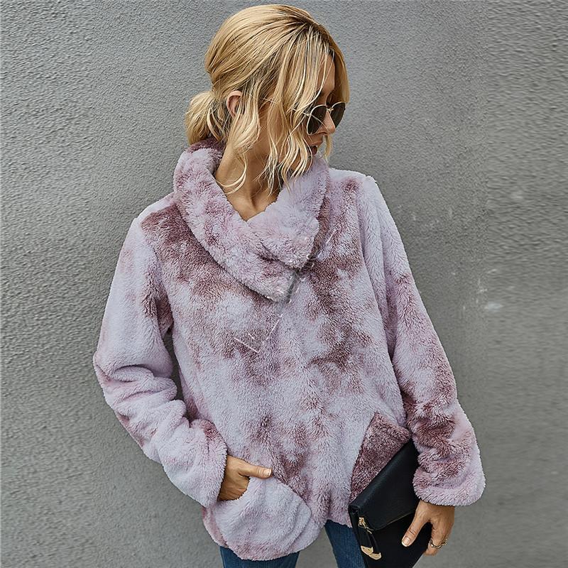 Ropa de las mujeres de lana de invierno de teñido suéter Sherpa Fleece caliente felpa peluda suéteres del suéter La mitad de la cremallera Outwear blusas Tops D91712 Moda