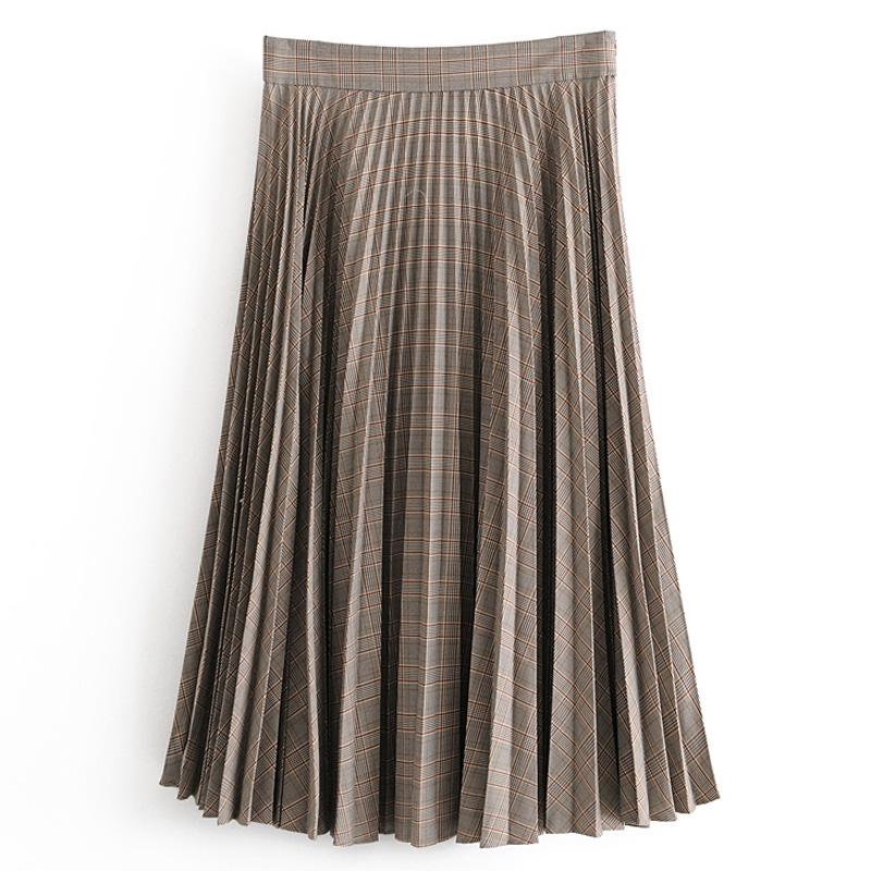 ZOEPO solto Saias Mulheres Moda Inglaterra Estilo da manta impresso saia mulheres elegantes Comprimento plissadas tornozelo Saias Feminino Ladies IC
