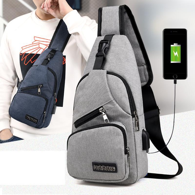 -Diseñador para hombre de Crossbody del pecho Bolsas Hombres de carga USB para auriculares Enchufe diseñador Mensajero de Oxford del bolso de hombro diagonal paquete 2020 Viajes