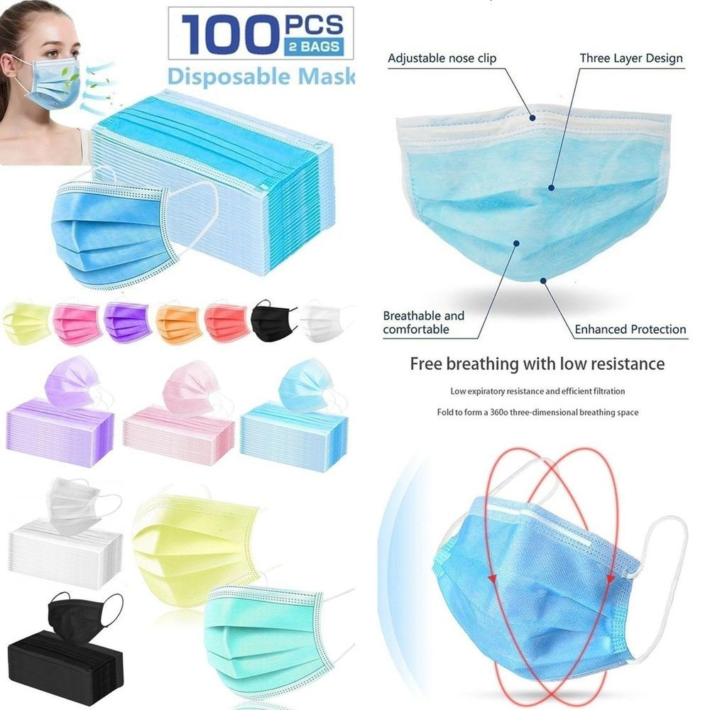 100pcs non médicale Multicolor anti-pollution et anti-buée à usage unique Couverture s8ZOA Bleu