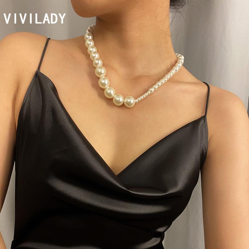 VIVILADY classique irrégulière perles imitation femmes Collier ras du cou Chic Style Minimaliste Femme Party Bijoux Bijoux Accessoires