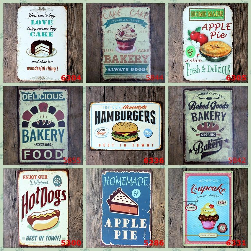 Resimler Cafe Shop Vintage İşaret Retro İşaretler 20X30cm HHB1620 Boyama Metal Metal Tabelalar Kek Hamburger Poster Duvar Dekoru Sanat Demir