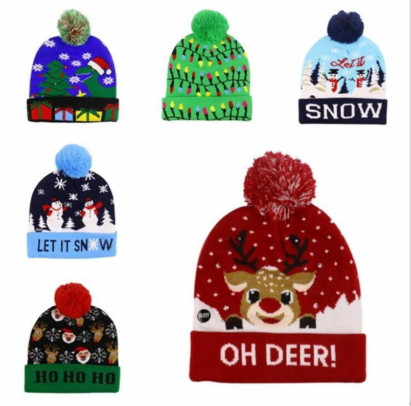 عيد الميلاد هالوين LED مضيئة قبعة كاب حك بيني شتاء دافئ تضيء الكرة الجمجمة قبعات ليلة الكرتون فلاش Gorros تزلج أغطية الرأس A120502