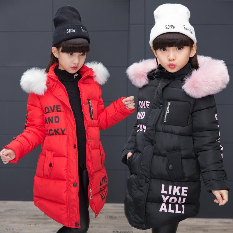 veste pour les filles hiver long manteau de fourrure Pardessus bébé chaud de vêtements pour les enfants en bas de veste col fille veste à capuche pour enfants