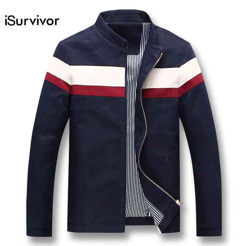 iSurvivor 2020 hombres de la primavera del remiendo chaquetas y abrigos Jaqueta Masculina masculino ocasional delgado de la manera de la cremallera chaquetas Equipada Hombre