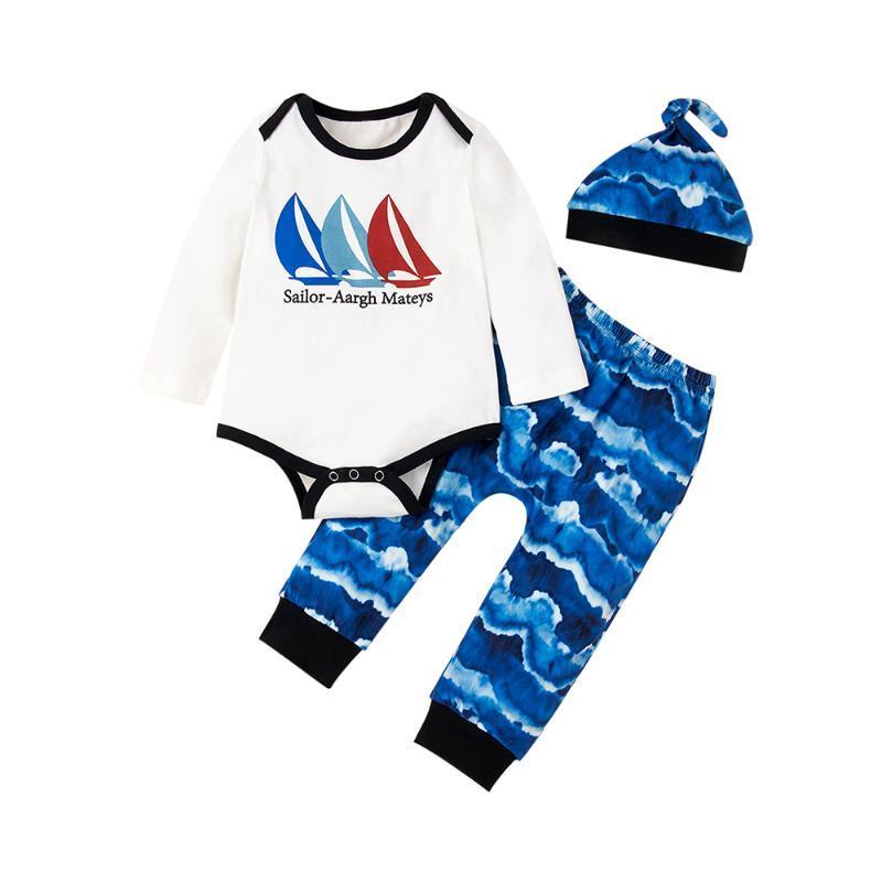 3pcs Set Neugeborene Baby-Kleidung für Jungen Langarm-Body-Hut Printed Hosen-Baby-Kleidung des Babys Set Ropa