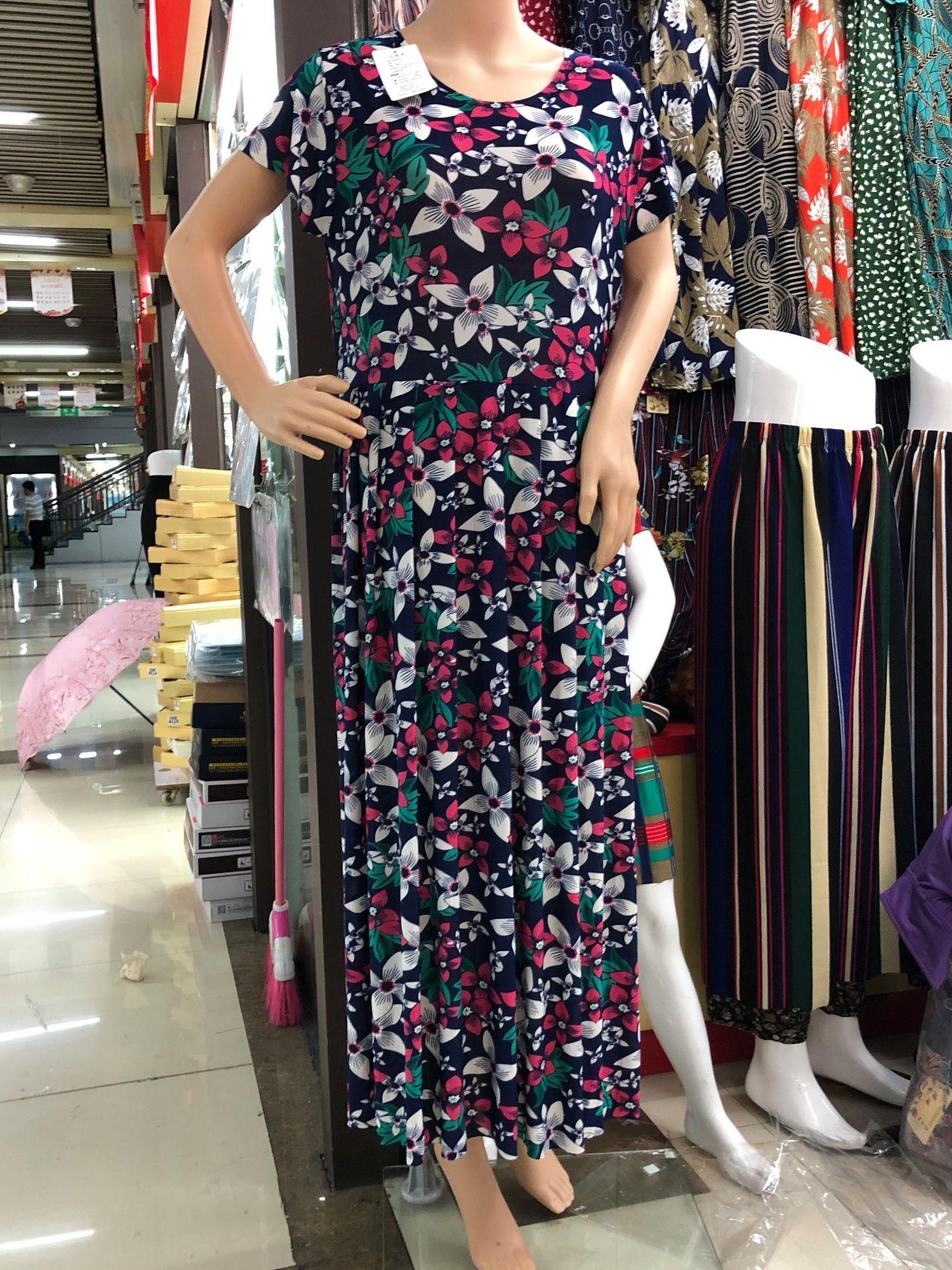 L7tgU verano vestido de estilo coreano de seda de hielo de gran falda de una sola pieza de la cintura alta cuerpo plisado gran estiramiento Slim Fit Plus grasa falda de una sola pieza impresa