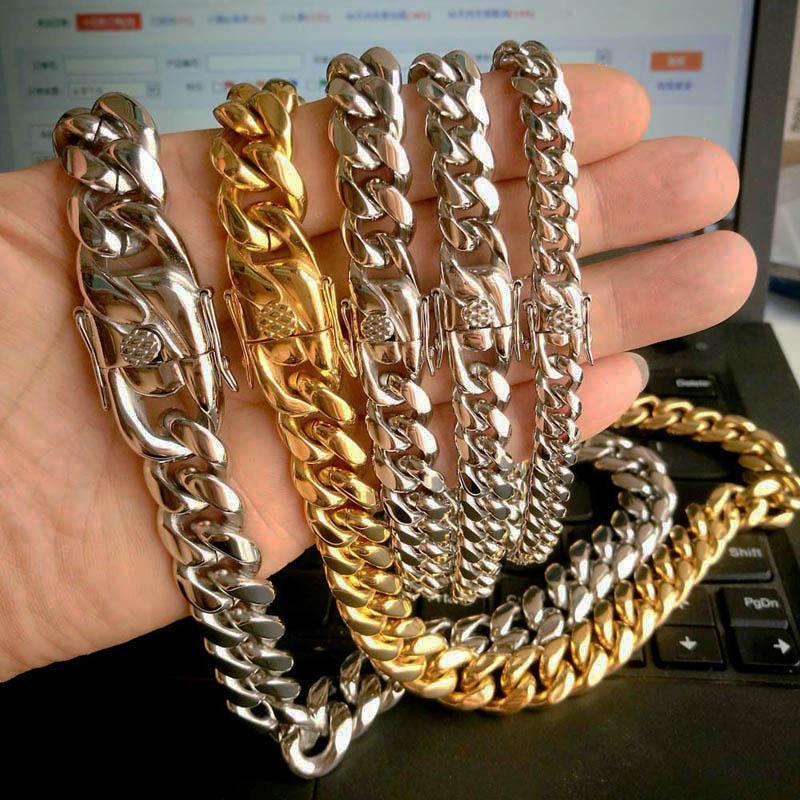 Nachrichten Ankunft 14mm Edelstahl Miami Curb Cuban Ketten-Halsketten-Jungen-Männer Hip-Hop-Mode Link-Schmuck Halskette