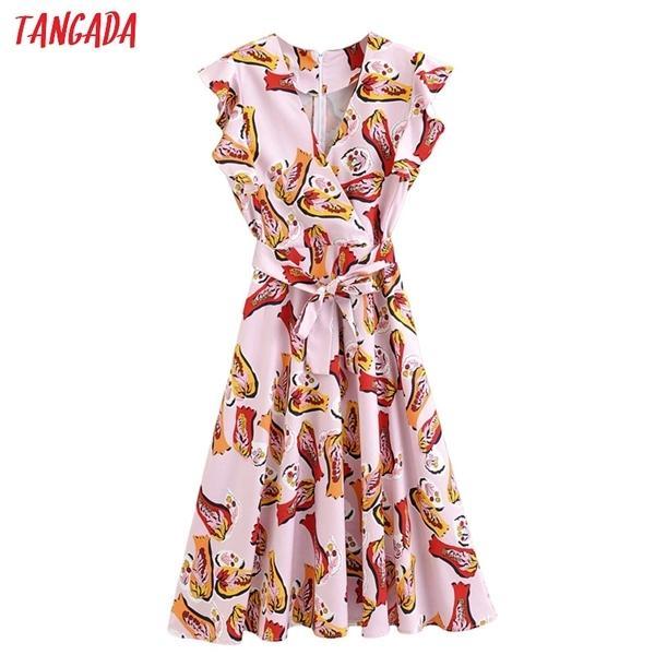 Tangada Moda Mulheres Imprimir Rosa Midi Dress Ruffles V Neck Ruffles Manga Curta Senhoras Verão Chiffon Vestido Vestidos 2F080924