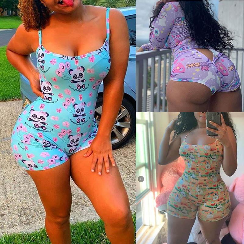 Women Jumpsuits Sexy V Neck Rompers Ladies Print Onesies Sling Sleepwear Female Open Crotch Jumpsuit Skinny Playsuits 050912