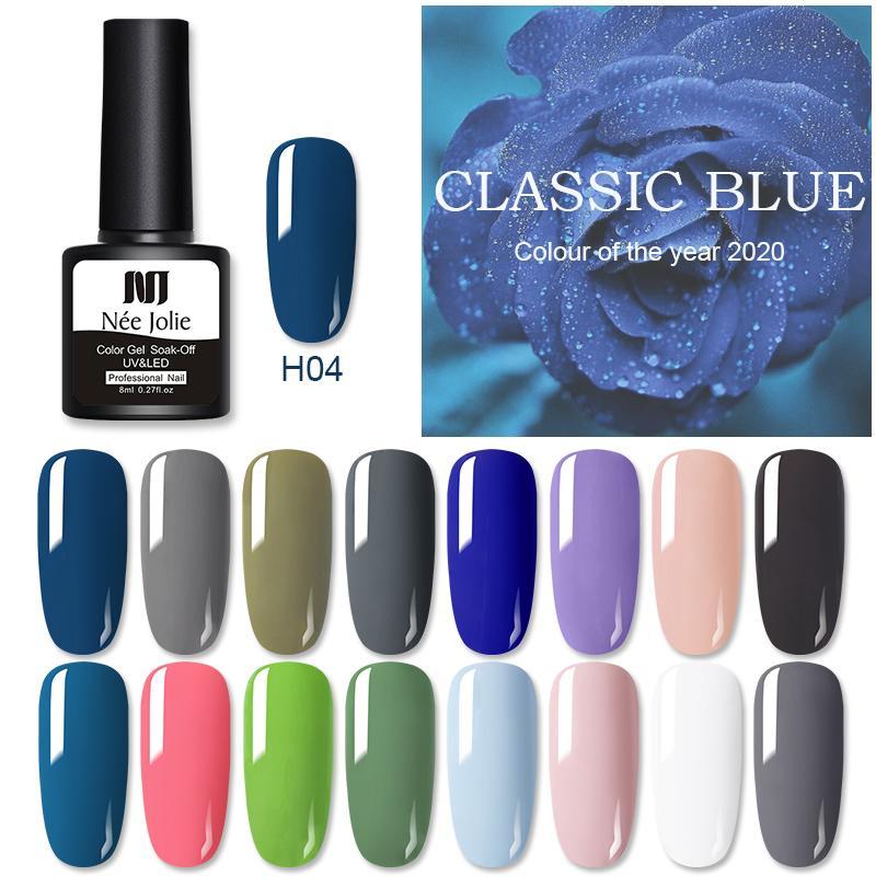 Gel per unghie NEE Jolie 8ml Colore solido Polish Polish Top Coat Blue Series UV immergere la vernice One-S Art