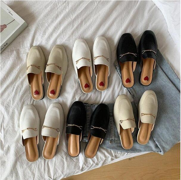 resbalón en los zapatos para los zapatos de las mujeres de primavera y otoño las nuevas mujeres del estilo de la cabeza cuadrada tacón bajo Muller