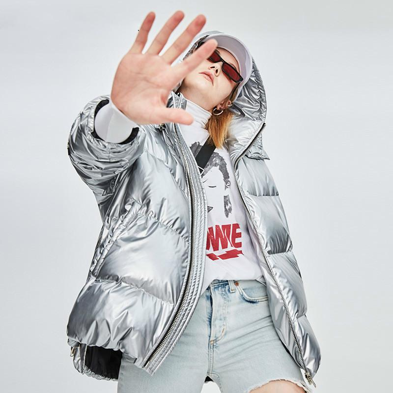 Women's Down & Parkas Jacket Mid-Length Style Silver Shiny Surface Hooded Loose Padded Coat White Duck