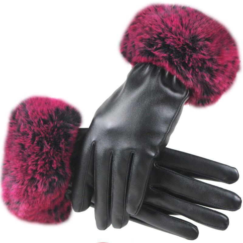 Cinq doigts Gants Hiver Velours chaud Velvet Femmes Rex Fourrure Design Imitation Cuir Cuir conduite Gant d'écran tactile coupe-vent