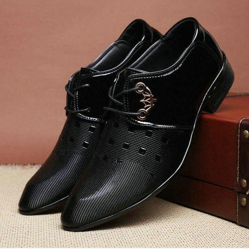 Leder Oxford Schuhe für Männer Lederschuhe Männer Formal Spitzschuh Geschäfts Hochzeit Plus Size formale Hochzeit Luxus oLpg #