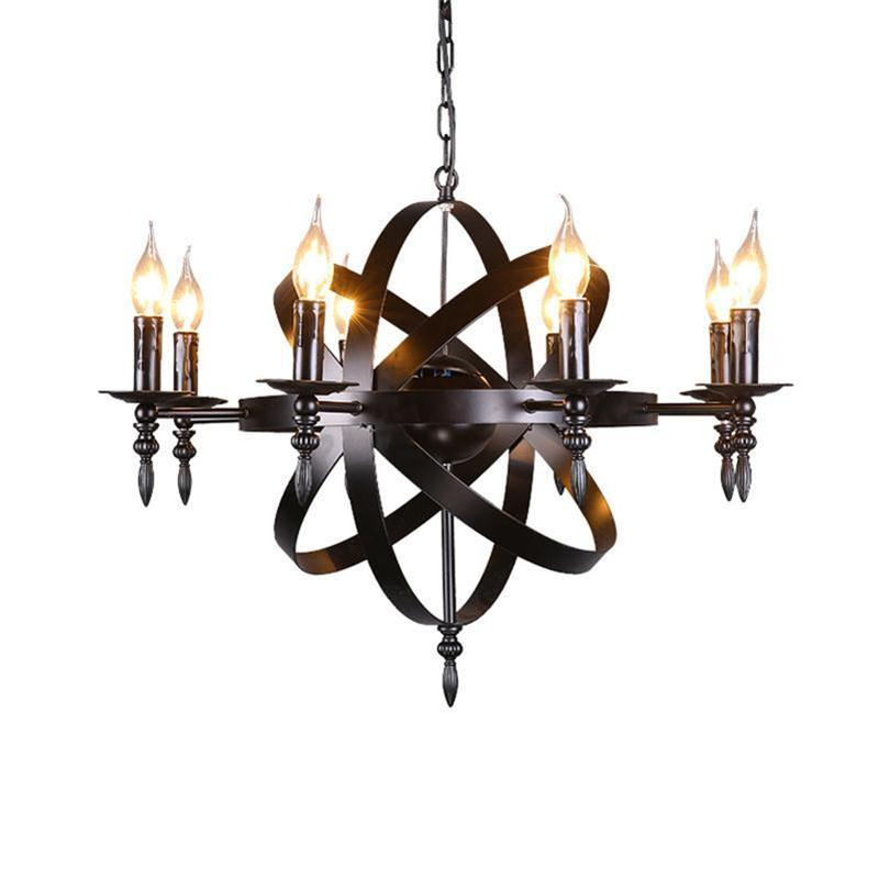 Nordic Industrial Style Retro Pendant Light Dining Living Room Barber Clothing Wine Hotel Birdcage Globe Satellite Candle Wrought Iron Chand