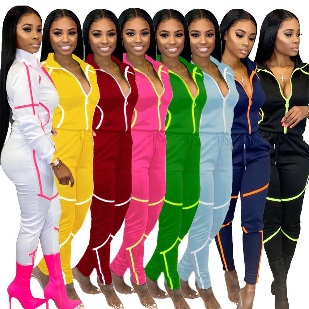 sexy womens autumn and winter long sleeve trousers special stitching solid color women's leisure sports suit plus size women clothing