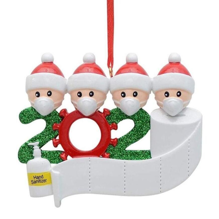 Yılbaşı Süs 2020 Karantina Reçine Noel Ağacı Asılı Süs Pandemik Sosyal Partisi Distansing Ailesi1-7