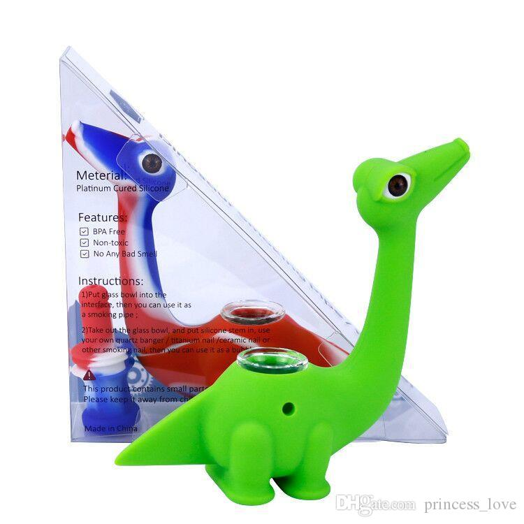 Glasrohre Glas Wasserbongs Niedlicher Stil Dinosaurier Mini Bong mit Silikonwasser Raucher Rohre Unzerbrechlich DAB-Rigg
