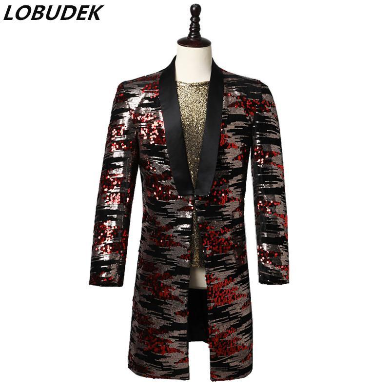 Yeni Erkekler Patchwork Pullarda Suit ceketler Akşam Parti Sahne Singer Sunucu Smokin Blazers Uzun Ceket Punk Rock Performansı Kostüm