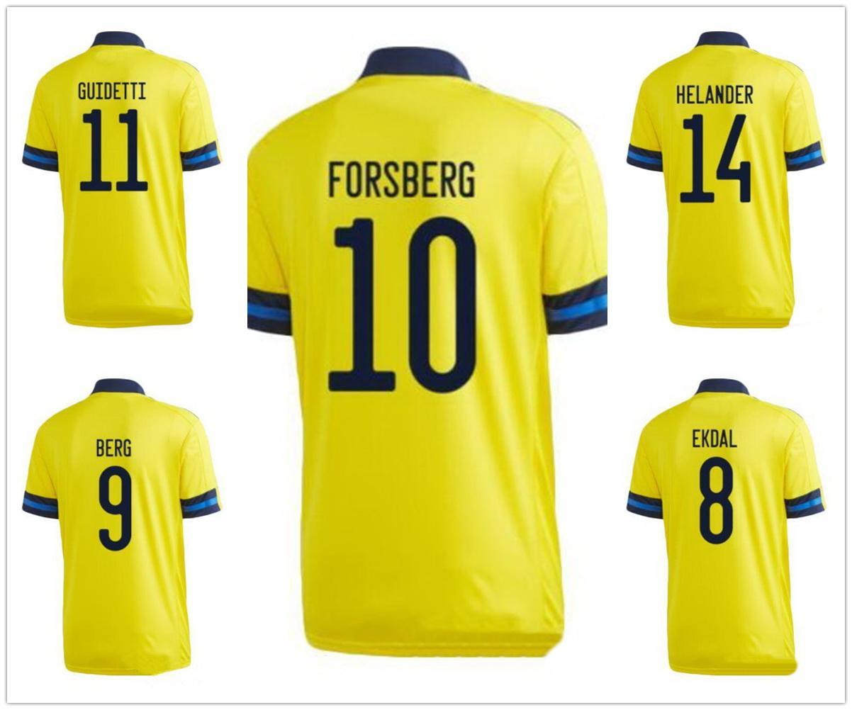 Personalizzazione Svezia personalizzata 20-21 10 Ibrahimovic 9 Berg Thailandia Quality Soccer Jerseys 14 Isak 17 Svanberg 13 Svensson 10 Forsberg