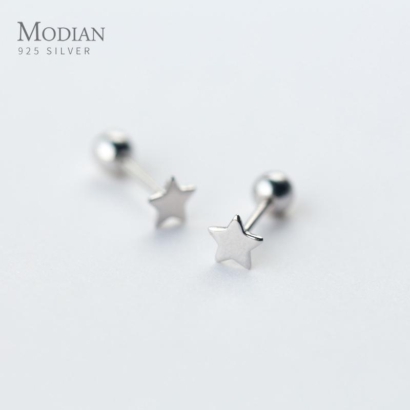 Modian real 925 Estrellas y accesorios de los pendientes del perno prisionero de la manera del grano minúsculo clásico para las mujeres joyería de plata esterlina