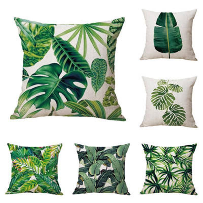 Tropische Pflanzen-Kissenbezug Leinen Dekorative Kissen- Regenwald Green Leaves Dekokissen Abdeckung Platz 45 * 45cm