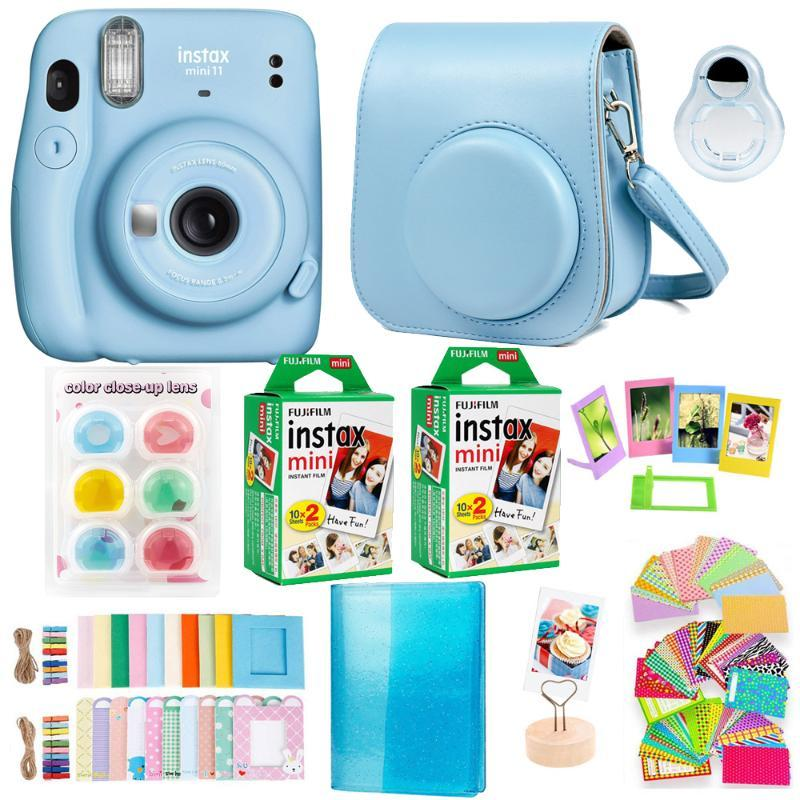 Instax Mini 11 Instant Camera Bundle Kit with Polaroid Mini Film Paper Camera Shoulder Strap Bag Stickers Accessories
