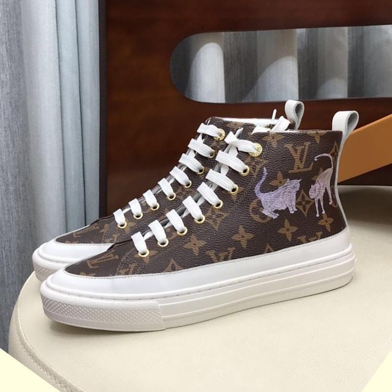 Moda mulheres de couro de luxo sapatos casuais fundo plano sapatos desportivos respirável de alta qualidade sapatos de viagem alta Top mulheres STELLAR Sapatilhas 0057