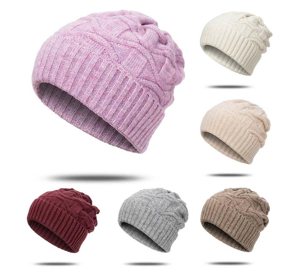 2020 새로운 간단한 캡 gorros 여성 겨울 모자가 단색 비니 뼈 니트 따뜻한 여성 겨울 Skullies에 대한 비니 모자