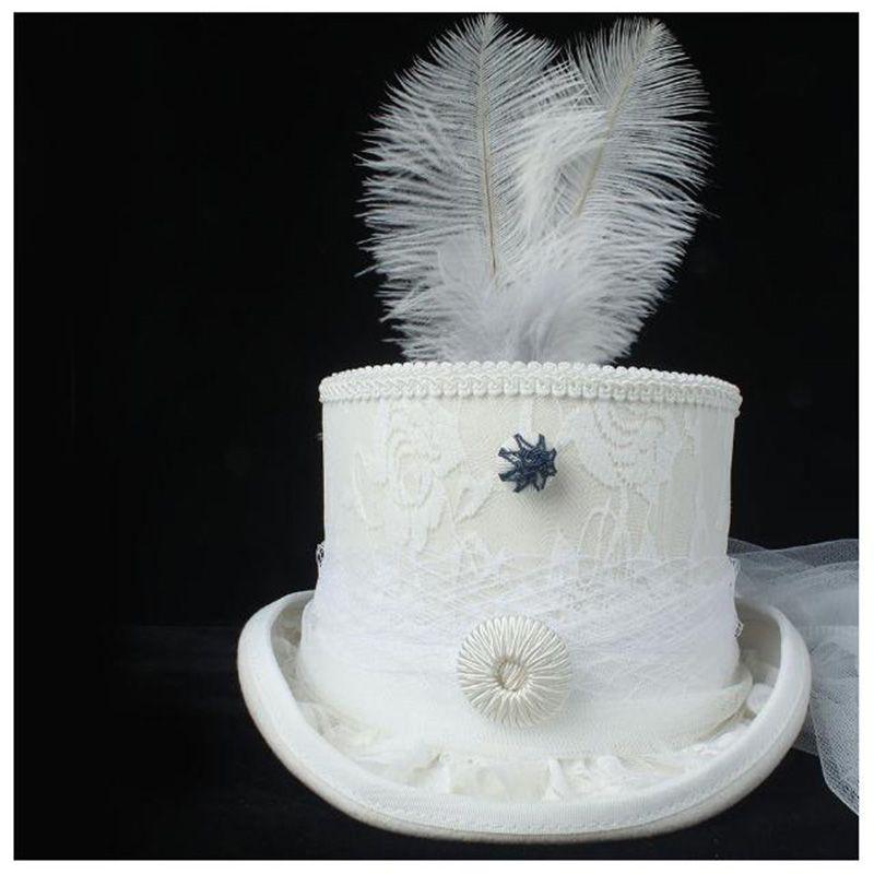 Handmade 100% шерсть Женщина Top Hat Белого стимпанк Hat Fedora Lady Rhinestone Gala Свадьбы 4size
