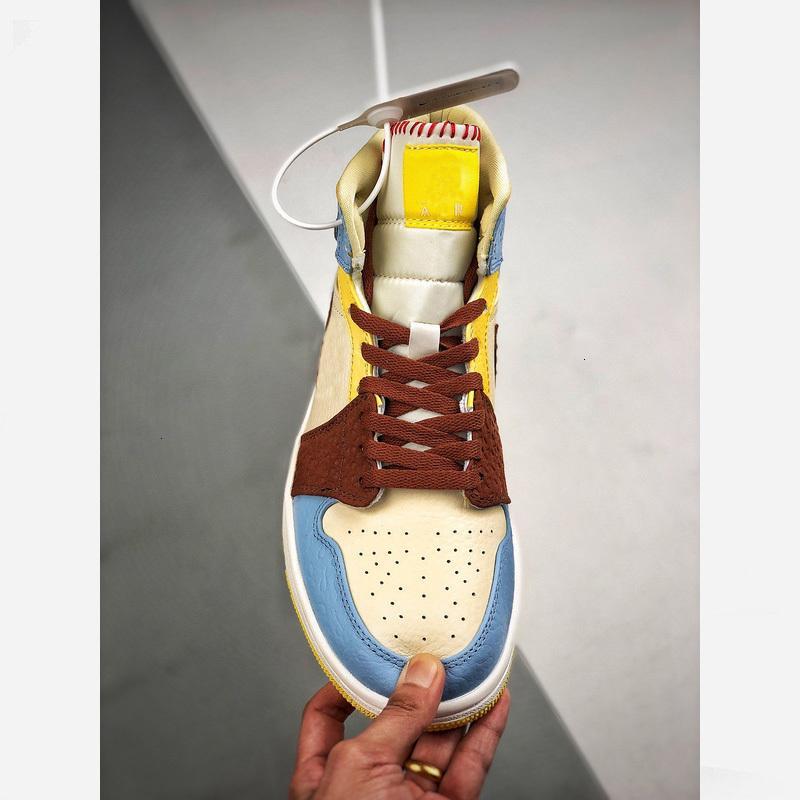 Se 2020 1s Mid Nuova Pallacanestro caldo Maison 1 Chateau Rouge pallido vaniglia cannella Designer Shoes Cu2803-200 36-46 con la scatola