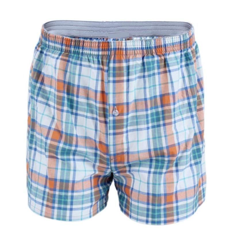 Men cotton arrow boxers casual elastic waist checkered underwear summer loose breathable beach underpants boxers shorts