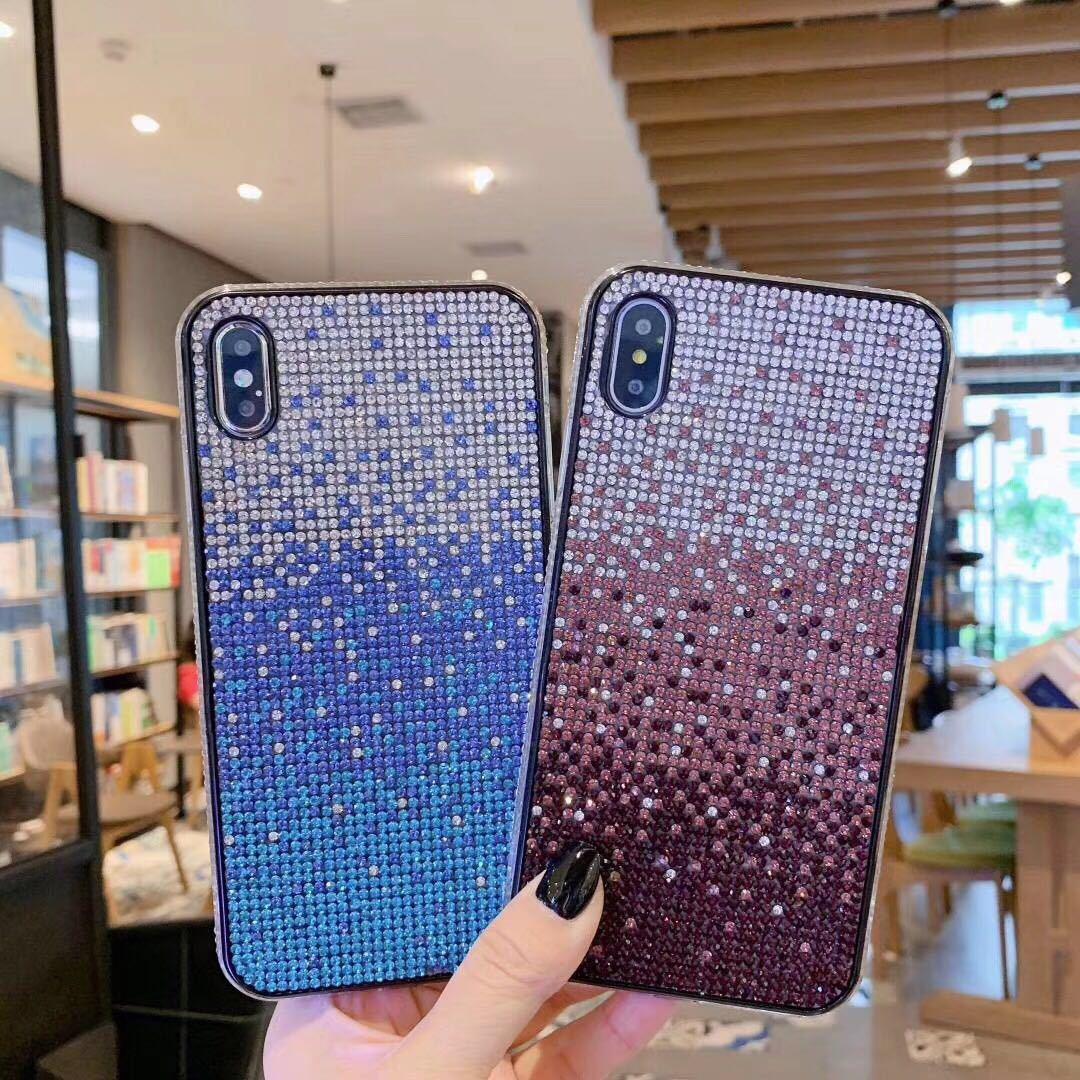 Nouvelle arrivée dégradé entièrement strass cas de téléphone haut de gamme diamant crashproof anti-choc Defender pour iPhone Xs Max Xr X 8 6 Plus 11 Pro