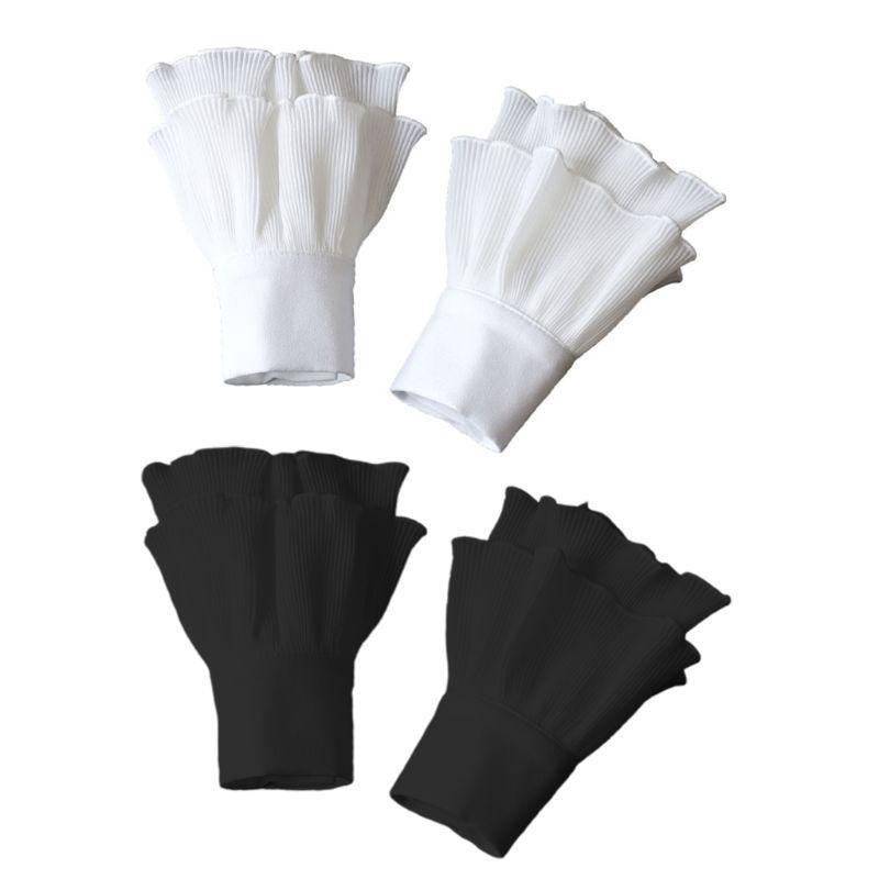 Cinco dedos luvas japonesas mulheres mergulhadas com nervuras chifre listrado algemas agaric Ruffles enrugado cor sólida Destacável manga falsa luva aquecedor de pulso