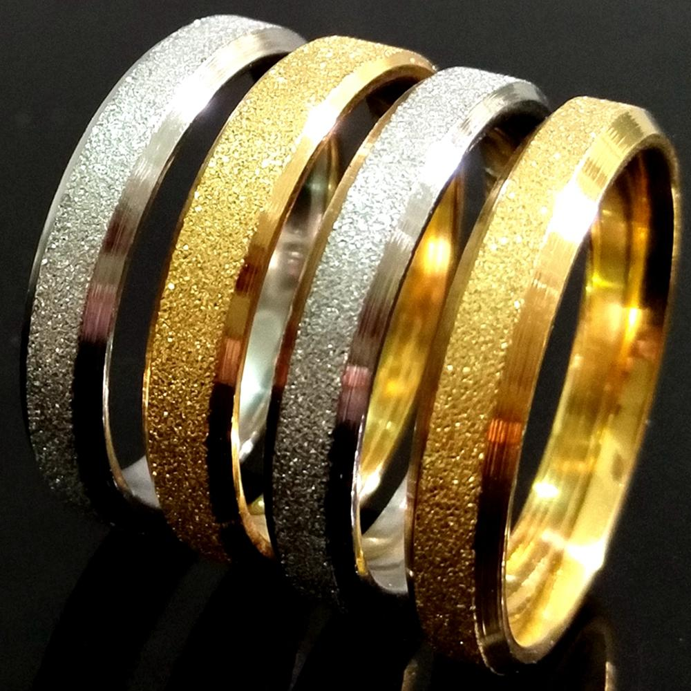 50шт Золото Серебро Смешать песок поверхности 4 мм Качество Комфорт-FIT Mens женщин Блестящая нержавеющая сталь Матовый кольцо шириной 4мм Оптовые ювелирные изделия Unisex