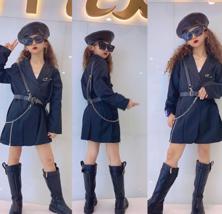 Çocuklar Siyah Bir takım elbise Dış Giyim Moda Çocuk Yaka Uzun Kollu Ceket Ile Mektup Kemer Lady Stil Kız Mont A4236