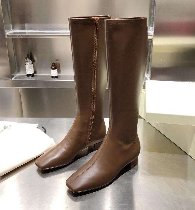 Zipper blocco in pelle di mucca Brand Design Kelly donne di alta Stivali moda occidentale Moto Cavaliere Stivali Winter Dress Boots da sposa, 35-40