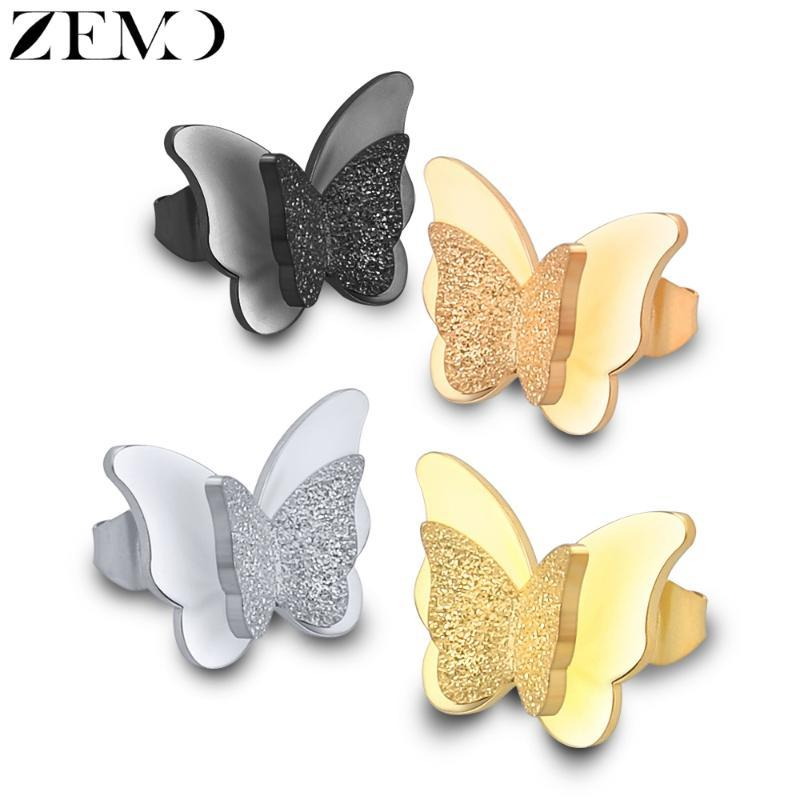 ZEMO Rose Gold Butterfly Stud Earring Female 316L Stainless Steel Black Earrings Ear Piercing Studs for Women Children's Earring