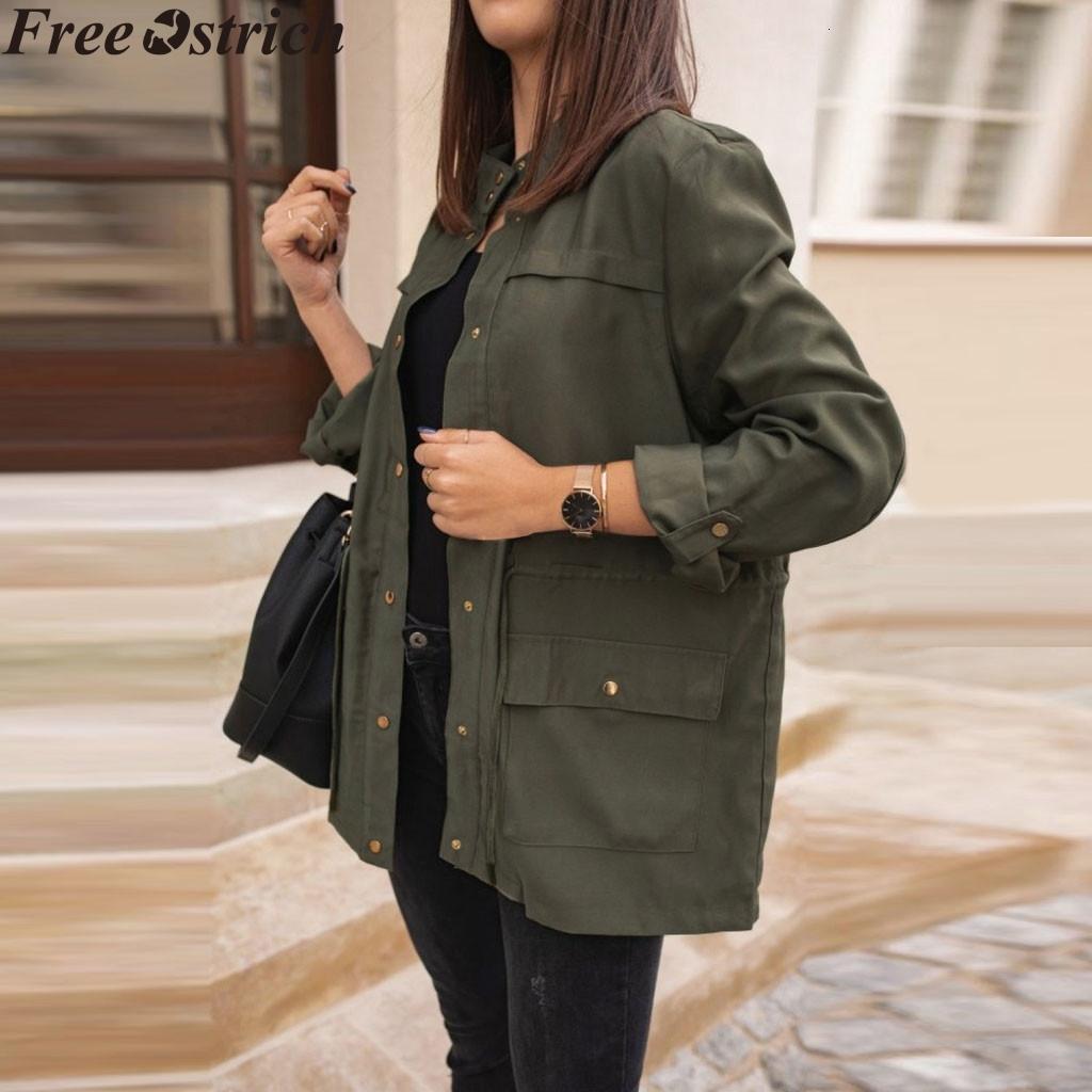 Lungo Windbreaker sport delle donne casuale più signore di formato delle parti superiori a maniche lunghe Zipper colore solido di modo allentato del cappotto del rivestimento